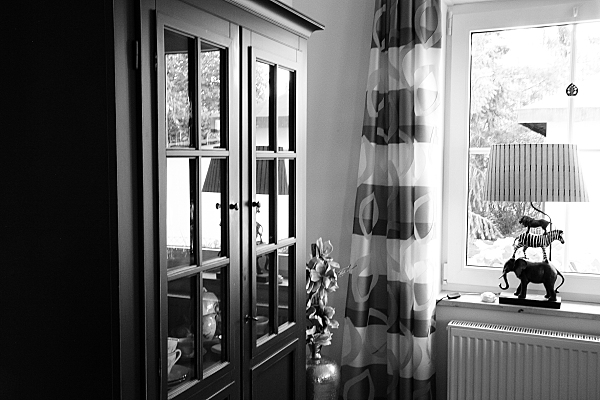Low Key Architekturfoto dunkler Holzschrank mit Glastüren, Fenster und auf dem Fensterbrett stehende Lampe aus übereinander geschichtetem Elefant, Zebra und Löwe.