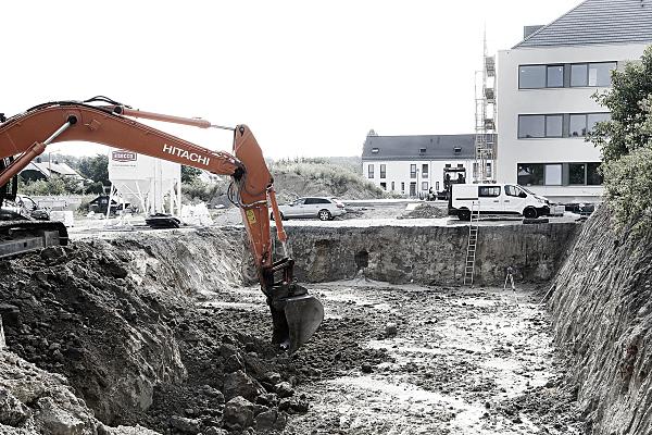 Bilddokumentationsfoto von Aufbau einer Regenwasser-Versickerungsanlage