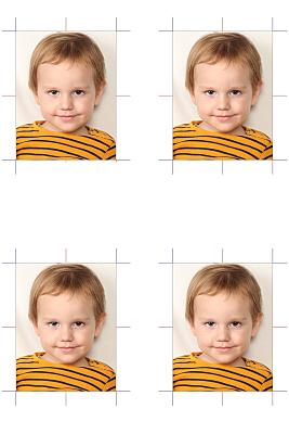 biometrisches Passfoto von einem kleinem Kind in Tigerpullover